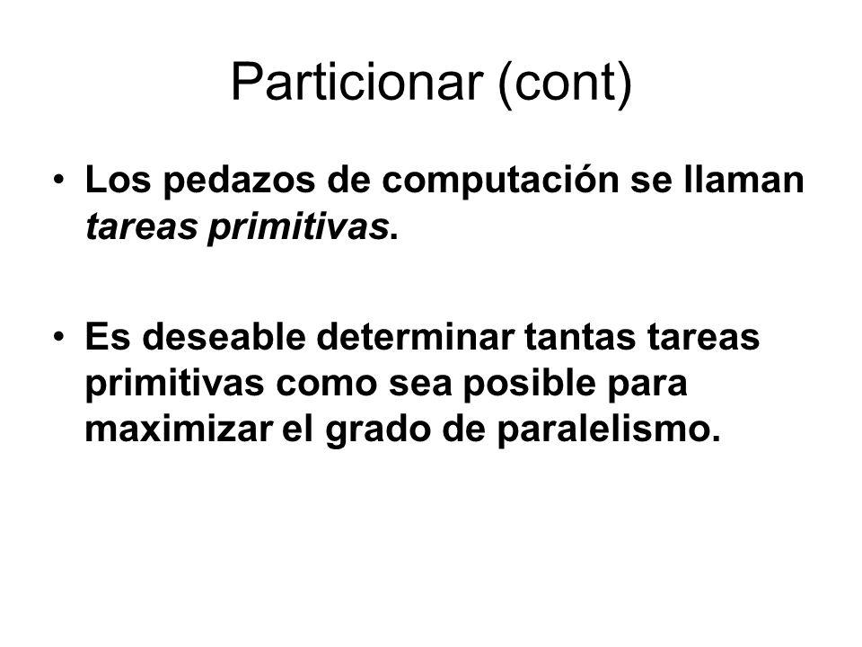 Particionar (cont) Los pedazos de computación se llaman tareas primitivas. Es deseable determinar tantas tareas primitivas como sea posible para maxim