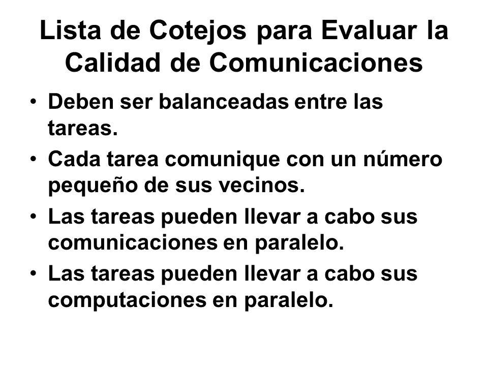Lista de Cotejos para Evaluar la Calidad de Comunicaciones Deben ser balanceadas entre las tareas. Cada tarea comunique con un número pequeño de sus v