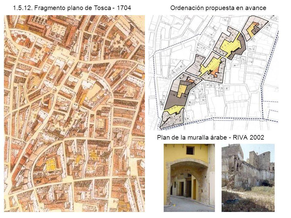 Plan de la muralla árabe - RIVA 2002 1.5.12. Fragmento plano de Tosca - 1704Ordenación propuesta en avance