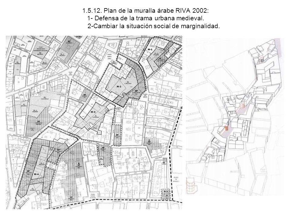 1.5.12. Plan de la muralla árabe RIVA 2002: 1- Defensa de la trama urbana medieval. 2-Cambiar la situación social de marginalidad.