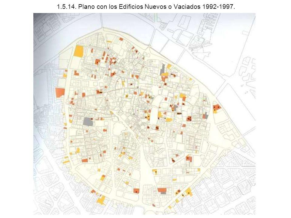 1.5.14. Plano con los Edificios Nuevos o Vaciados 1992-1997.