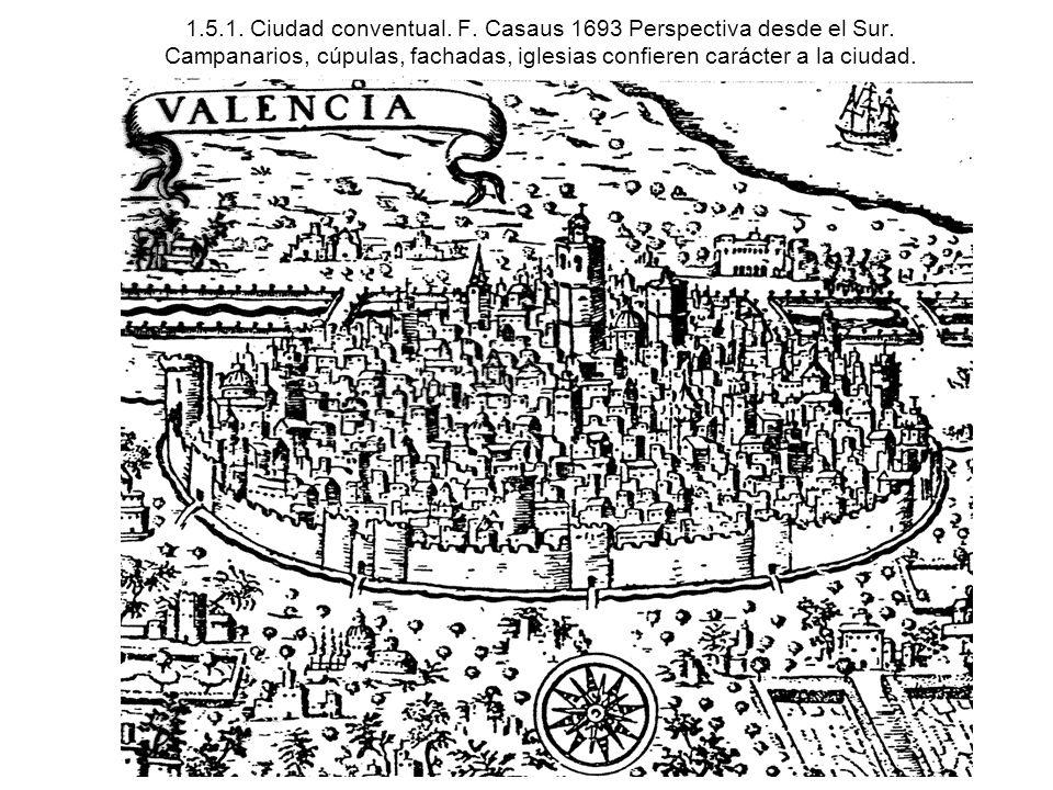 1.5.1. Ciudad conventual. F. Casaus 1693 Perspectiva desde el Sur. Campanarios, cúpulas, fachadas, iglesias confieren carácter a la ciudad.