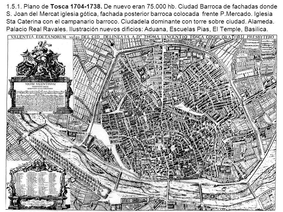 1.5.1. Plano de Tosca 1704-1738. De nuevo eran 75.000 hb. Ciudad Barroca de fachadas donde S. Joan del Mercat iglesia gótica, fachada posterior barroc