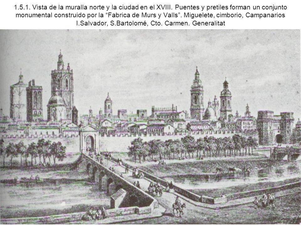 1.5.1. Vista de la muralla norte y la ciudad en el XVIII. Puentes y pretiles forman un conjunto monumental construido por la Fabrica de Murs y Valls.