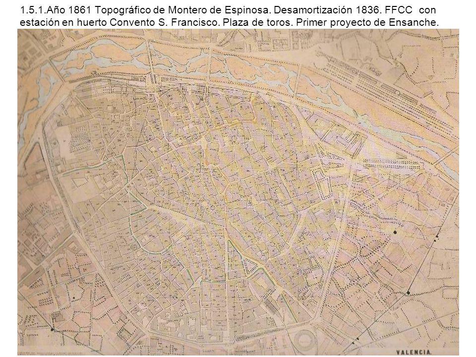 1.5.1.Año 1861 Topográfico de Montero de Espinosa. Desamortización 1836. FFCC con estación en huerto Convento S. Francisco. Plaza de toros. Primer pro