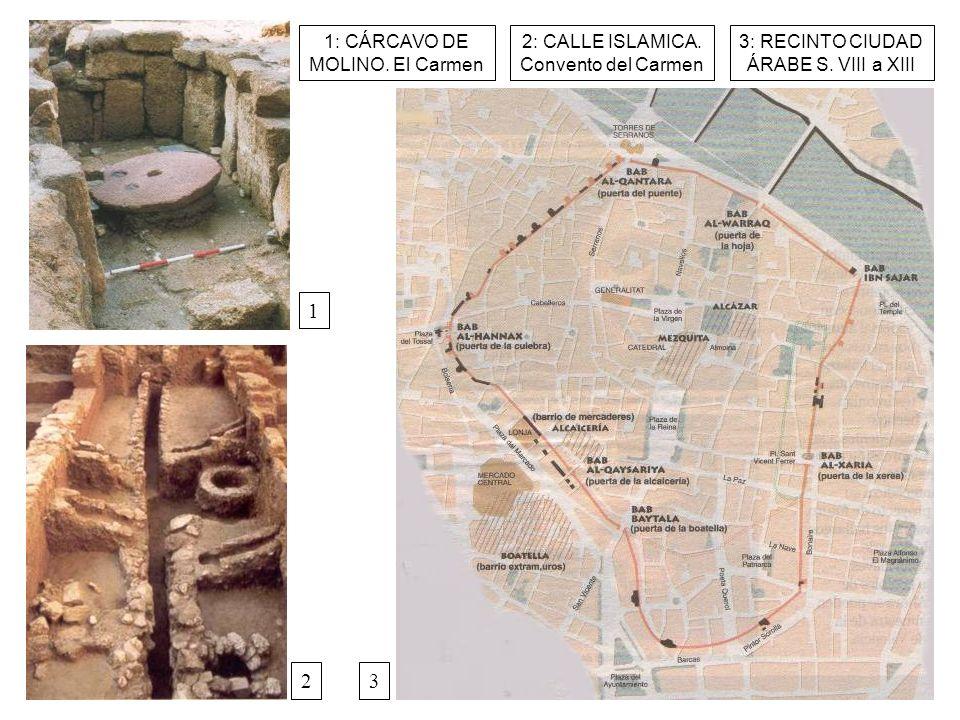 1: CÁRCAVO DE MOLINO. El Carmen 2: CALLE ISLAMICA. Convento del Carmen 3: RECINTO CIUDAD ÁRABE S. VIII a XIII 1 32