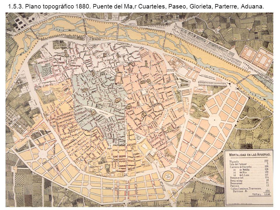 1.5.3. Plano topográfico 1880. Puente del Ma,r Cuarteles, Paseo, Glorieta, Parterre, Aduana.