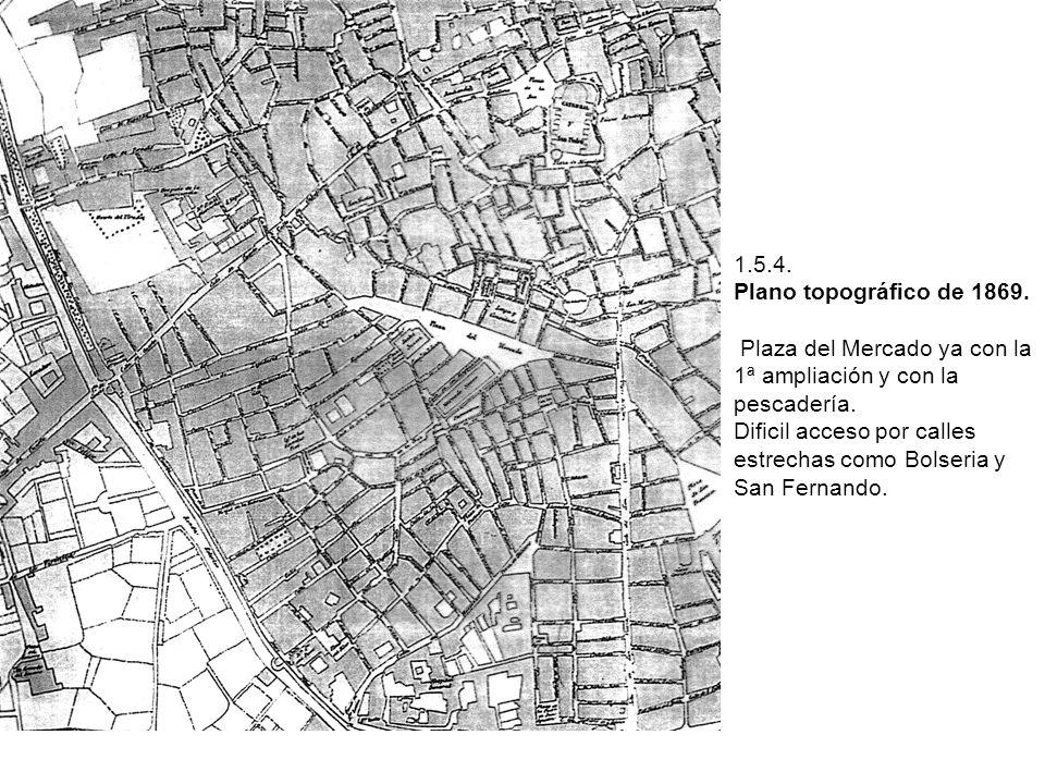 1.5.4. Plano topográfico de 1869. Plaza del Mercado ya con la 1ª ampliación y con la pescadería. Dificil acceso por calles estrechas como Bolseria y S