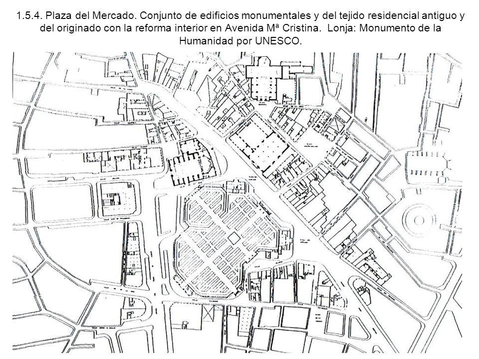 1.5.4. Plaza del Mercado. Conjunto de edificios monumentales y del tejido residencial antiguo y del originado con la reforma interior en Avenida Mª Cr