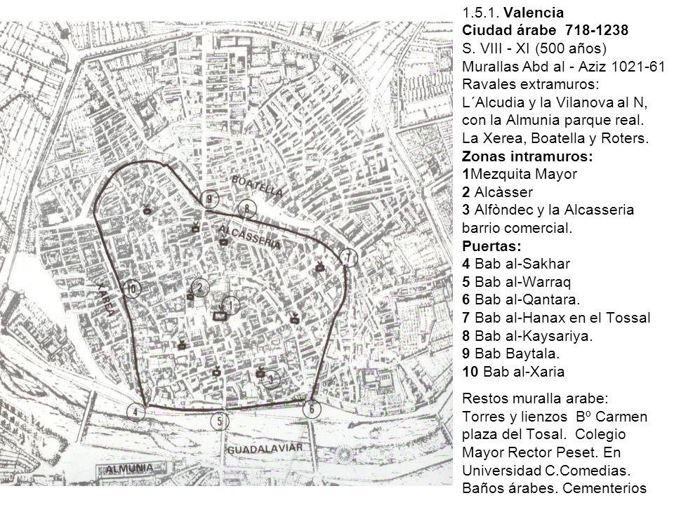 1.5.1. Valencia Ciudad árabe 718-1238 S. VIII - XI (500 años) Murallas Abd al - Aziz 1021-61 Ravales extramuros: L´Alcudia y la Vilanova al N, con la
