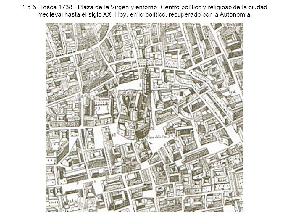 1.5.5. Tosca 1738. Plaza de la Virgen y entorno. Centro político y religioso de la ciudad medieval hasta el siglo XX. Hoy, en lo político, recuperado