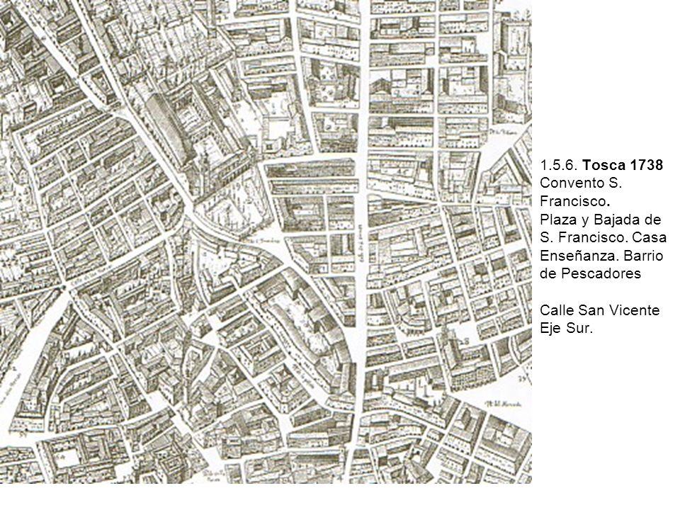 1.5.6. Tosca 1738 Convento S. Francisco. Plaza y Bajada de S. Francisco. Casa Enseñanza. Barrio de Pescadores Calle San Vicente Eje Sur.