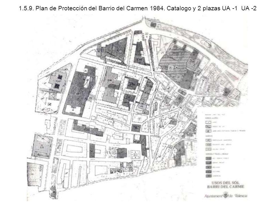 1.5.9. Plan de Protección del Barrio del Carmen 1984. Catalogo y 2 plazas UA -1 UA -2