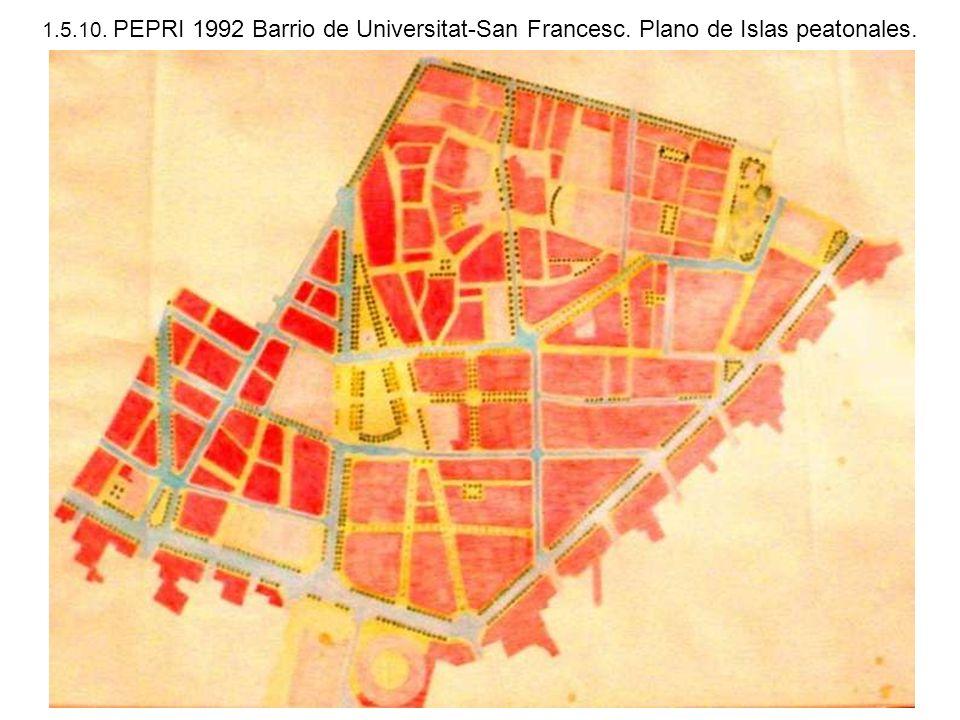 1.5.10. PEPRI 1992 Barrio de Universitat-San Francesc. Plano de Islas peatonales.