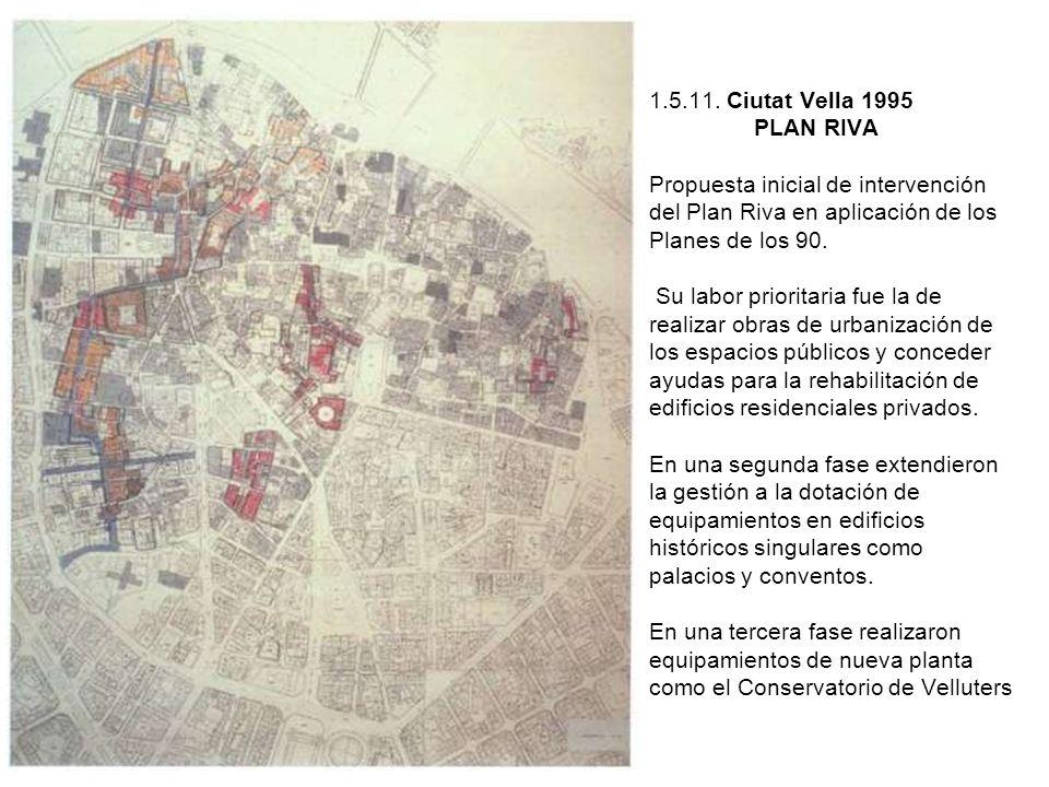 1.5.11. Ciutat Vella 1995 PLAN RIVA Propuesta inicial de intervención del Plan Riva en aplicación de los Planes de los 90. Su labor prioritaria fue la