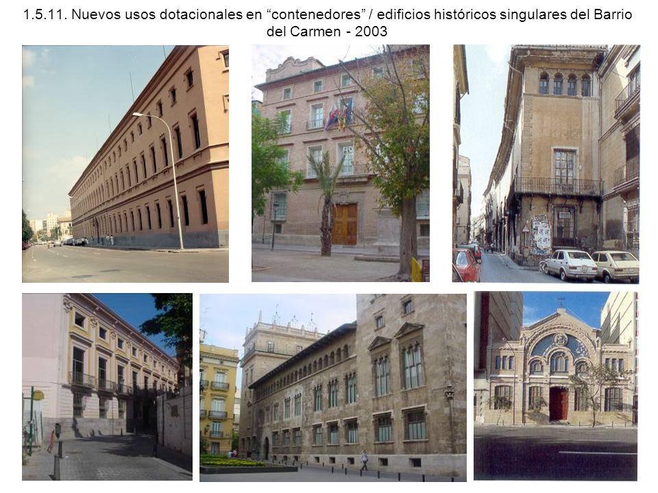 1.5.11. Nuevos usos dotacionales en contenedores / edificios históricos singulares del Barrio del Carmen - 2003