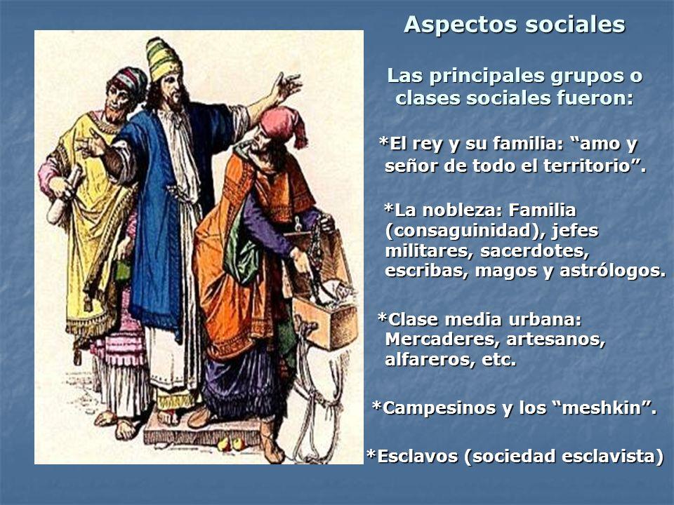 Aspectos sociales Las principales grupos o clases sociales fueron: *El rey y su familia: amo y señor de todo el territorio. *El rey y su familia: amo
