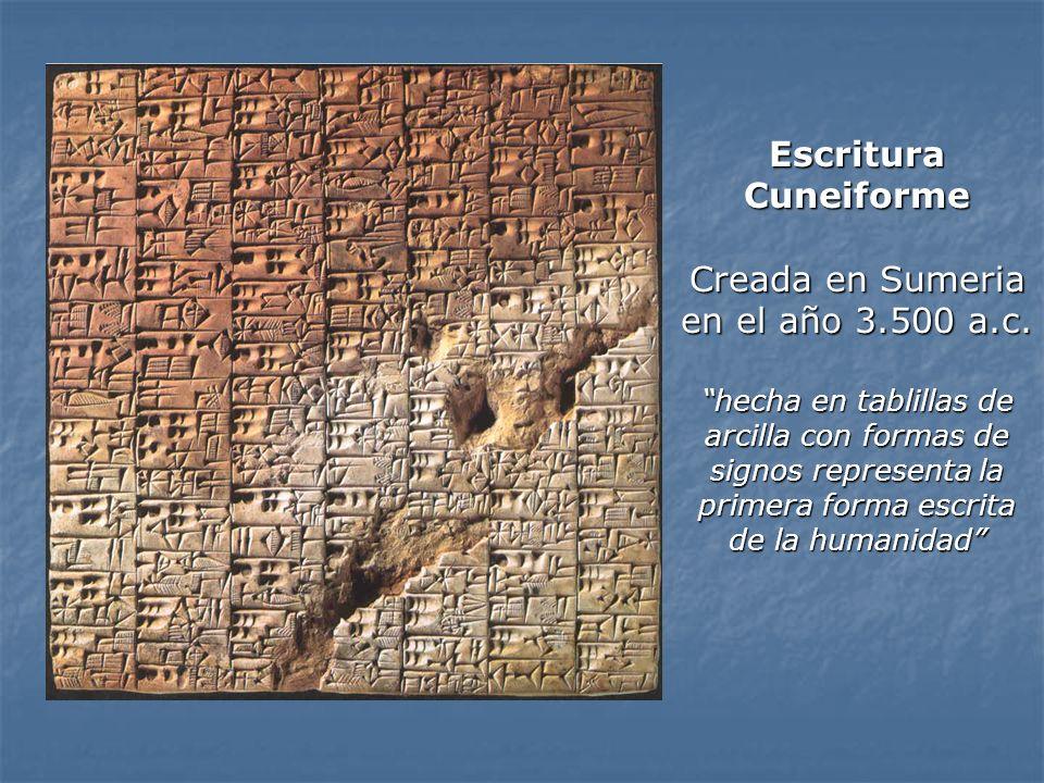 Escritura Cuneiforme Creada en Sumeria en el año 3.500 a.c. hecha en tablillas de arcilla con formas de signos representa la primera forma escrita de