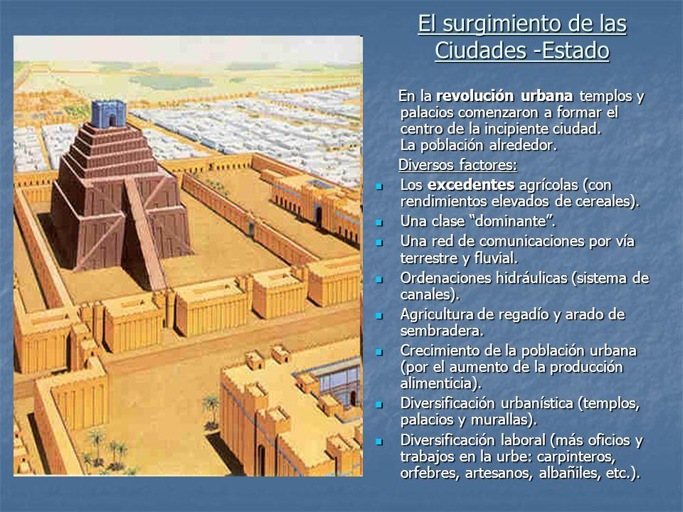 El surgimiento de las Ciudades -Estado En la revolución urbana templos y palacios comenzaron a formar el centro de la incipiente ciudad. La población