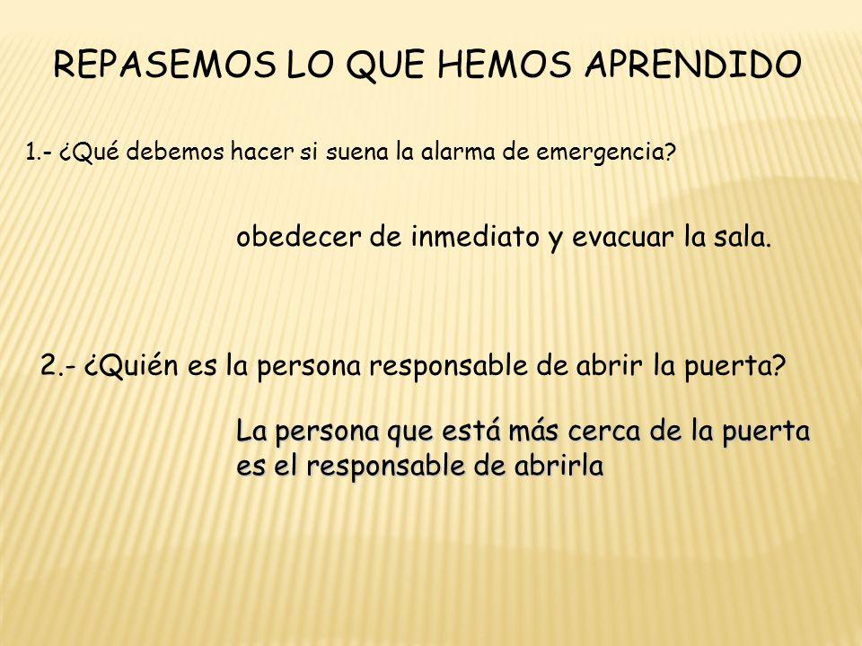 REPASEMOS LO QUE HEMOS APRENDIDO 1.- ¿Qué debemos hacer si suena la alarma de emergencia.