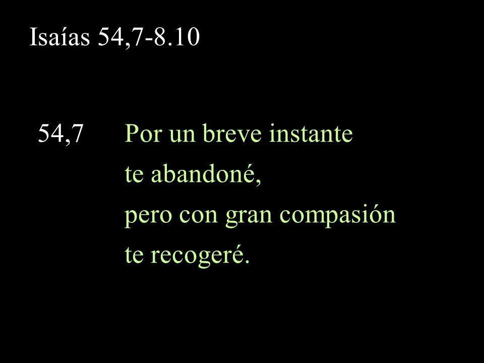Isaías 54,8 54,8 En un arranque de furor te oculté mi rostro por un instante, pero con amor eterno te he compadecido– dice Yahveh tu Redentor