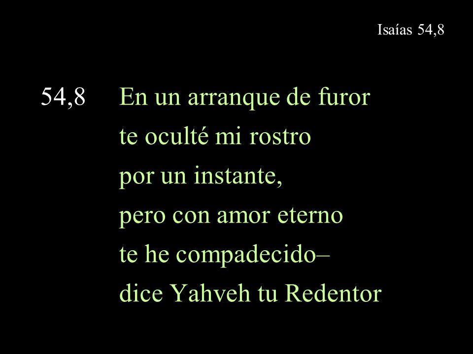 Isaías 54,10 54,10 Porque los montes se correrán y las colinas se moverán, mas mi amor de tu lado no se apartará y mi alianza de paz no se moverá– dice Yahveh, que tiene compasión de ti.