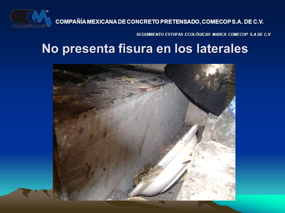 No presenta fisura en los laterales SEGUIMIENTO ESTUFAS ECOLÓGICAS MARCA COMECOP S.A DE C.V COMPAÑÍA MEXICANA DE CONCRETO PRETENSADO, COMECOP S.A.