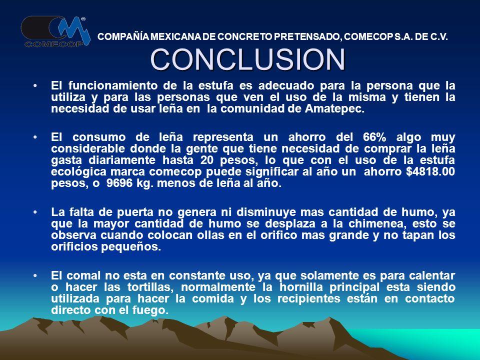CONCLUSION El funcionamiento de la estufa es adecuado para la persona que la utiliza y para las personas que ven el uso de la misma y tienen la necesidad de usar leña en la comunidad de Amatepec.