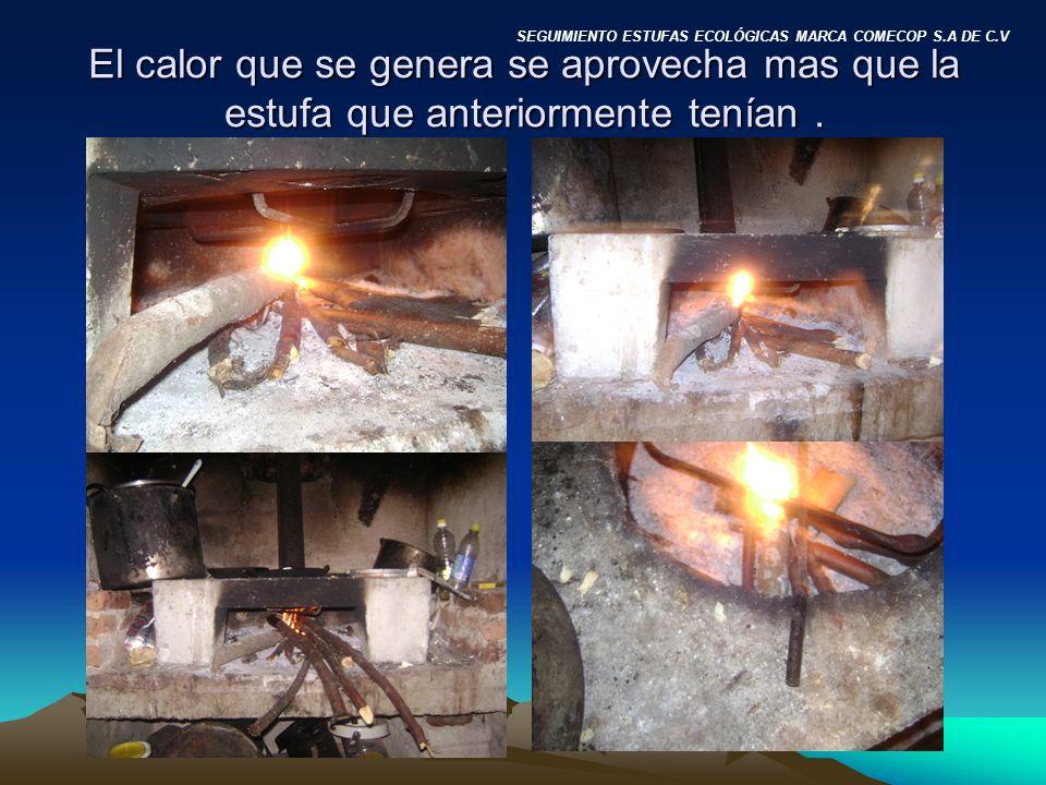 El calor que se genera se aprovecha mas que la estufa que anteriormente tenían.
