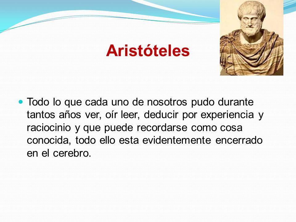 Aristóteles Todo lo que cada uno de nosotros pudo durante tantos años ver, oír leer, deducir por experiencia y raciocinio y que puede recordarse como