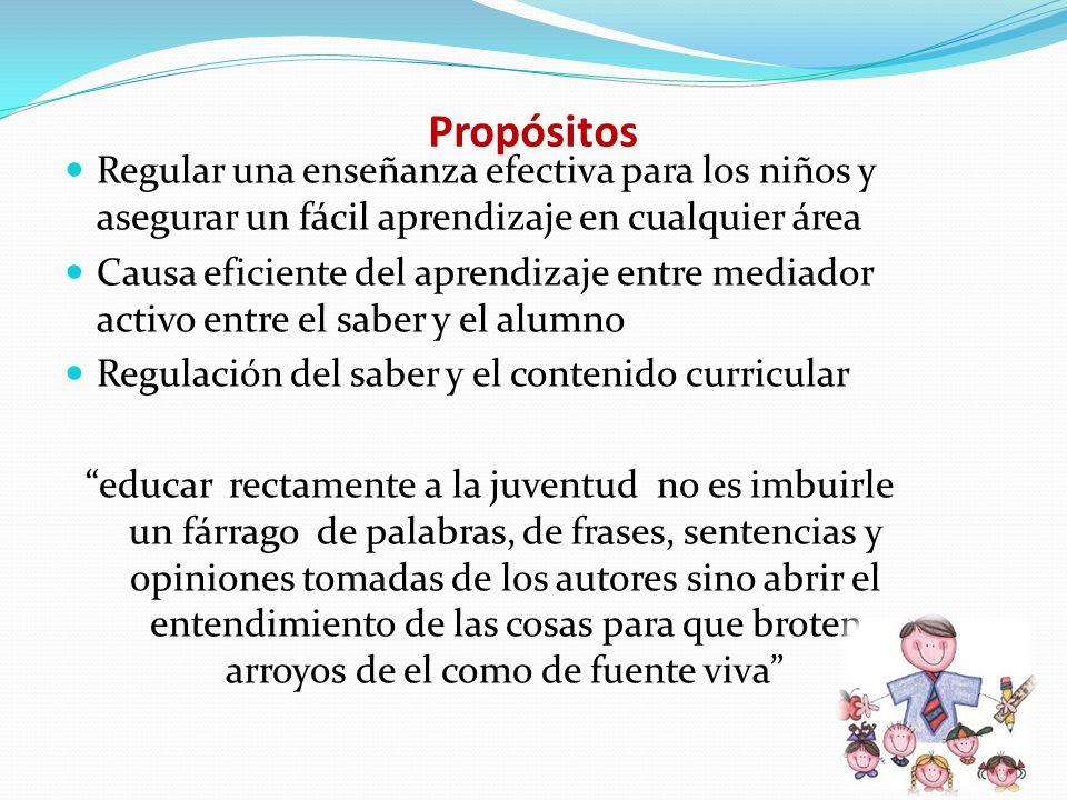Propósitos Regular una enseñanza efectiva para los niños y asegurar un fácil aprendizaje en cualquier área Causa eficiente del aprendizaje entre media