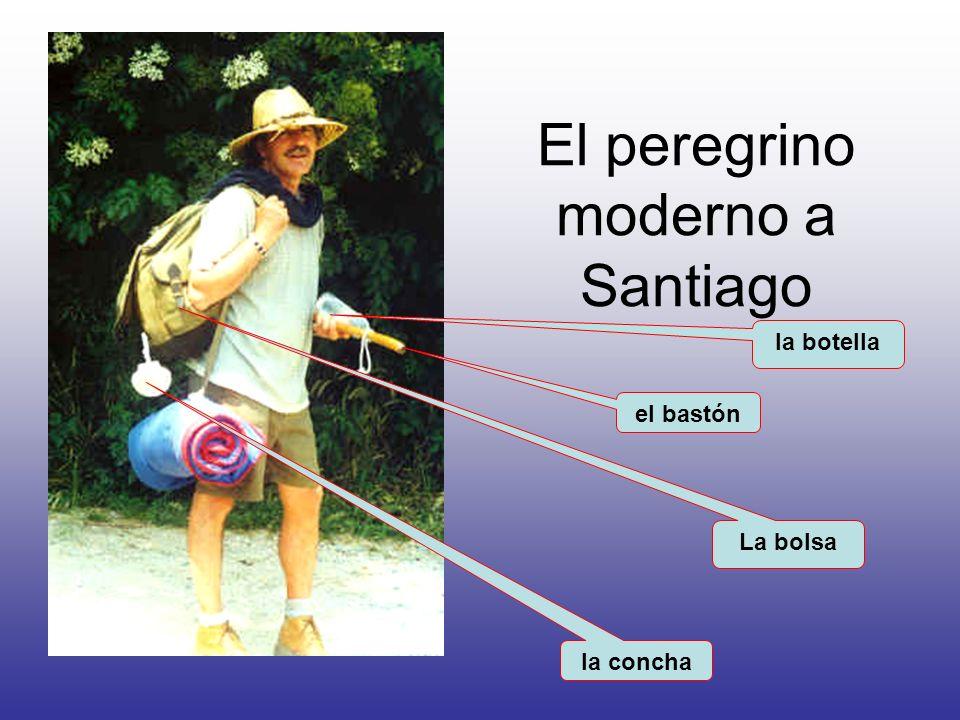 El peregrino moderno a Santiago el bastón la botella la concha La bolsa