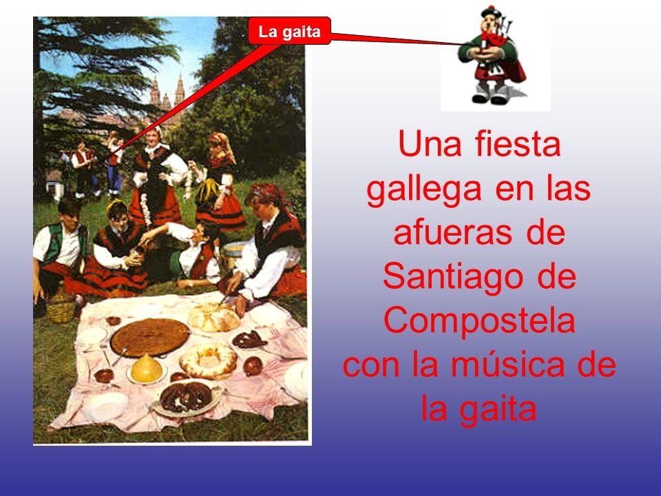 Una fiesta gallega en las afueras de Santiago de Compostela con la música de la gaita La gaita