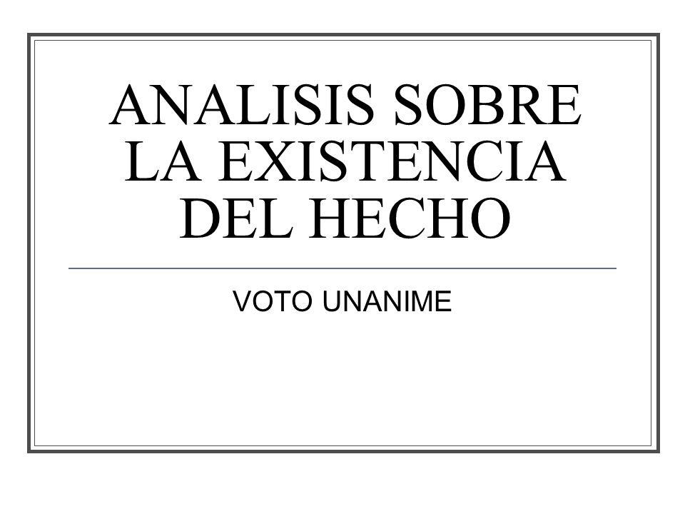 ANALISIS SOBRE LA EXISTENCIA DEL HECHO VOTO UNANIME