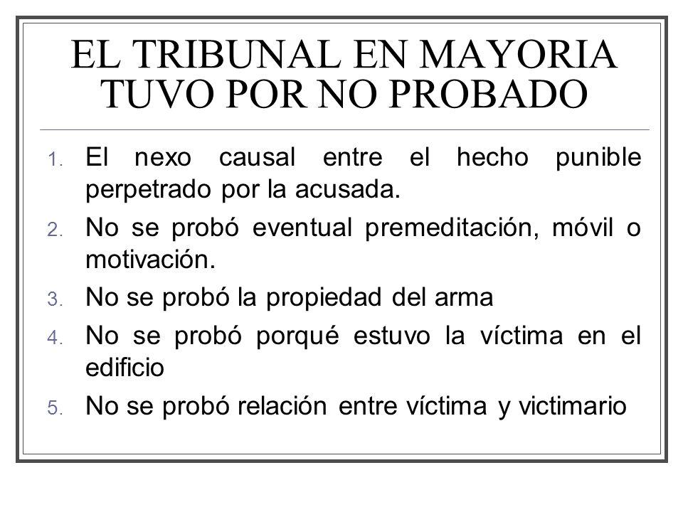 EL TRIBUNAL EN MAYORIA TUVO POR NO PROBADO 1.