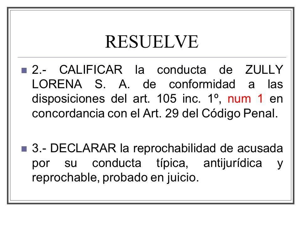 RESUELVE 2.- CALIFICAR la conducta de ZULLY LORENA S.
