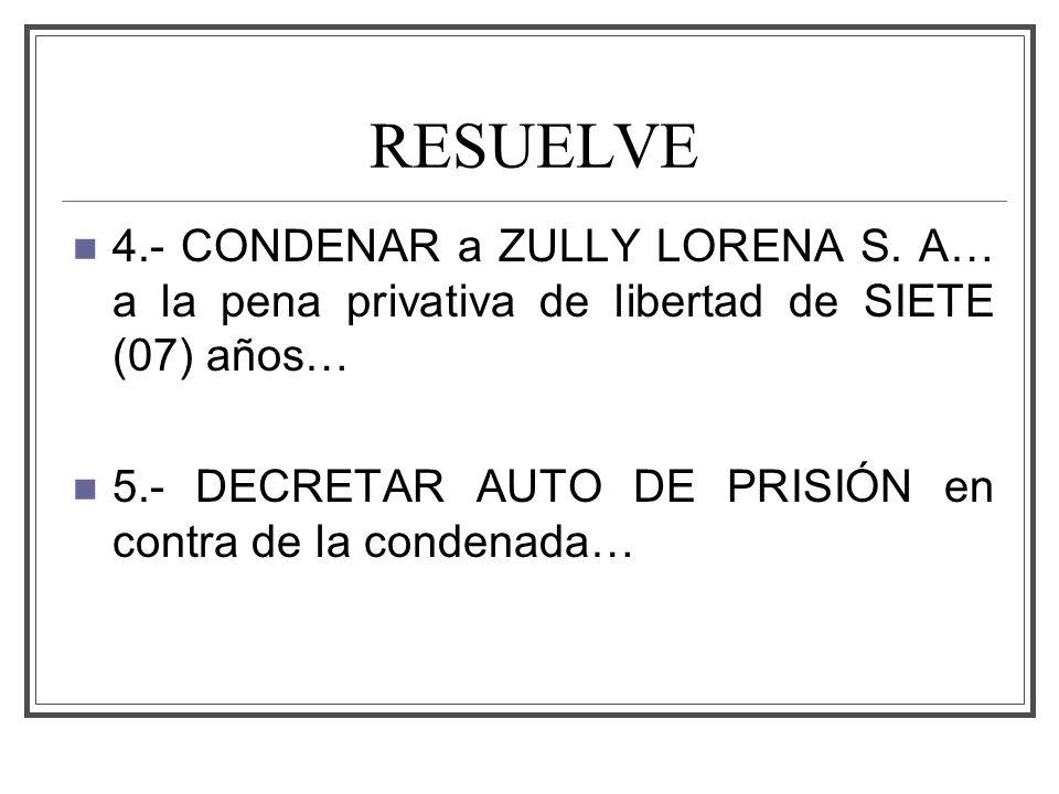 RESUELVE 4.- CONDENAR a ZULLY LORENA S.
