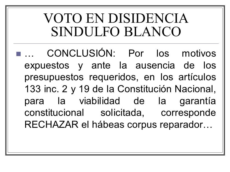VOTO EN DISIDENCIA SINDULFO BLANCO … CONCLUSIÓN: Por los motivos expuestos y ante la ausencia de los presupuestos requeridos, en los artículos 133 inc.