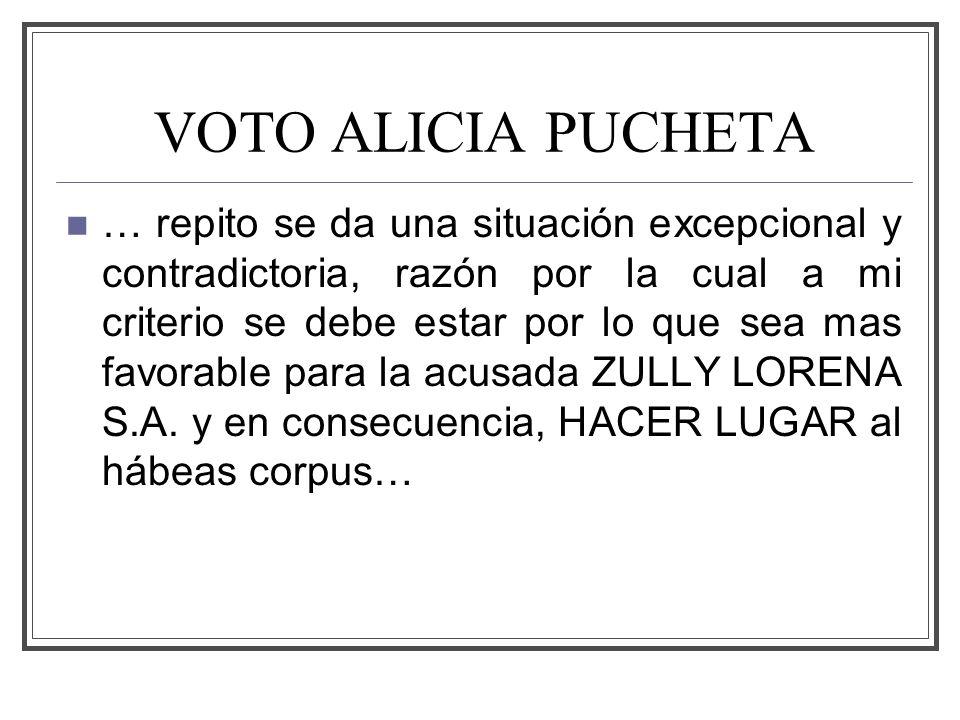 VOTO ALICIA PUCHETA … repito se da una situación excepcional y contradictoria, razón por la cual a mi criterio se debe estar por lo que sea mas favorable para la acusada ZULLY LORENA S.A.