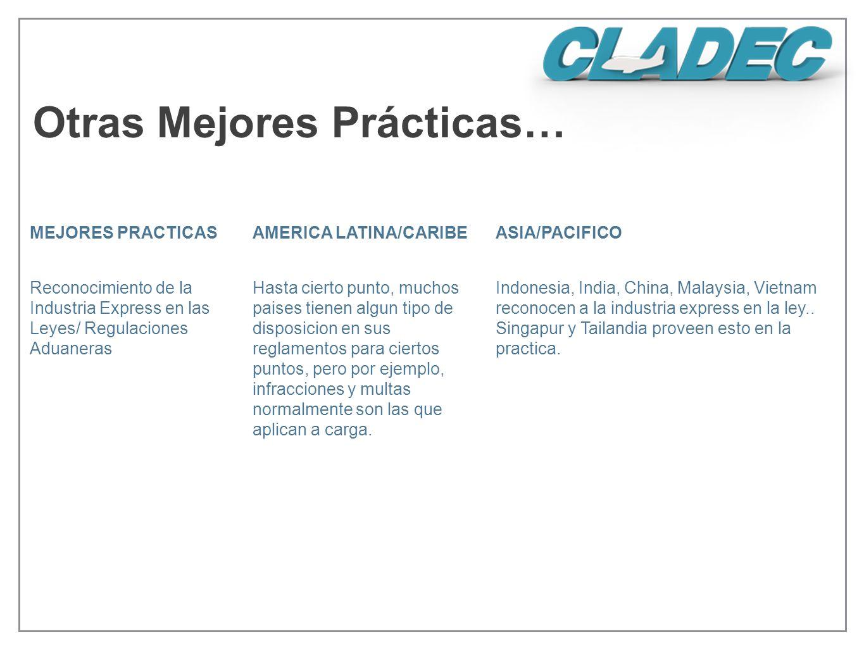 Otras Mejores Prácticas… MEJORES PRACTICASAMERICA LATINA/CARIBEASIA/PACIFICO Reconocimiento de la Industria Express en las Leyes/ Regulaciones Aduaner