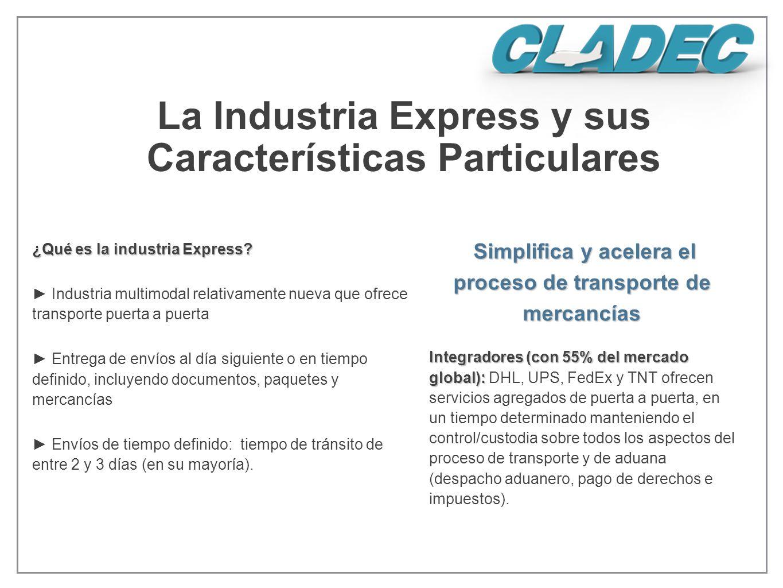 La Industria Express y sus Características Particulares ¿Qué es la industria Express? Industria multimodal relativamente nueva que ofrece transporte p