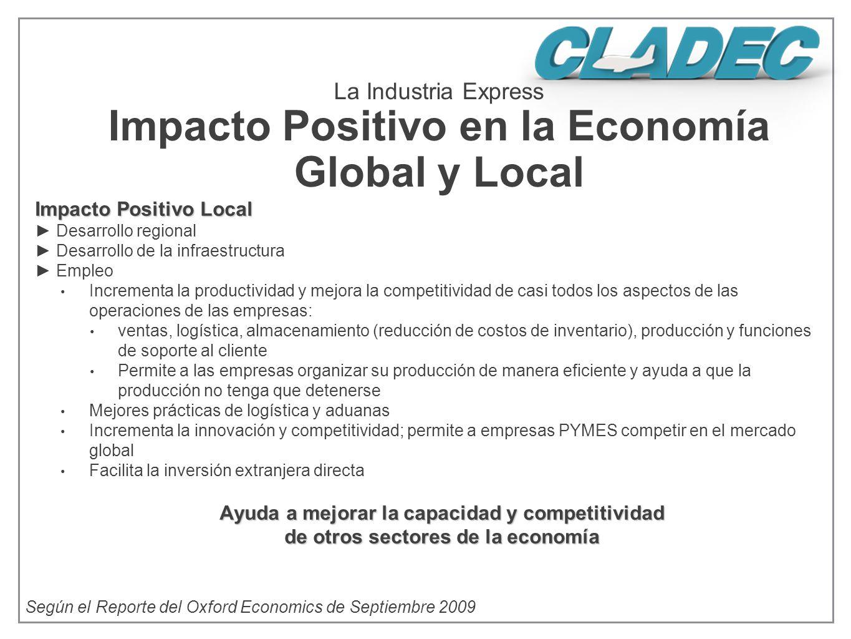 Impacto Positivo Local Desarrollo regional Desarrollo de la infraestructura Empleo Incrementa la productividad y mejora la competitividad de casi todo