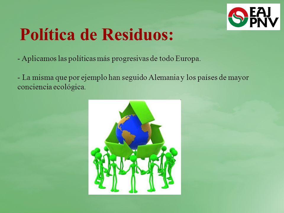 Política de Residuos: - Aplicamos las políticas más progresivas de todo Europa.
