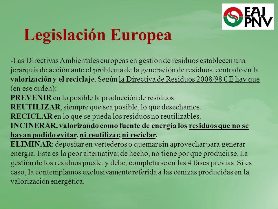 -Las Directivas Ambientales europeas en gestión de residuos establecen una jerarquía de acción ante el problema de la generación de residuos, centrado en la valorización y el reciclaje.