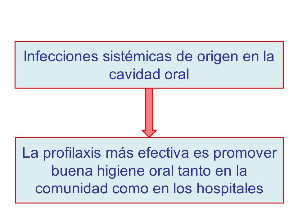 Infecciones sistémicas de origen en la cavidad oral La profilaxis más efectiva es promover buena higiene oral tanto en la comunidad como en los hospit