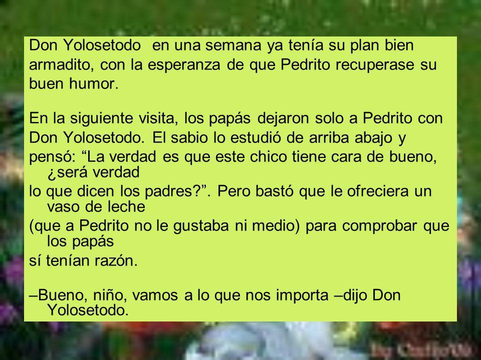 Don Yolosetodo en una semana ya tenía su plan bien armadito, con la esperanza de que Pedrito recuperase su buen humor. En la siguiente visita, los pap
