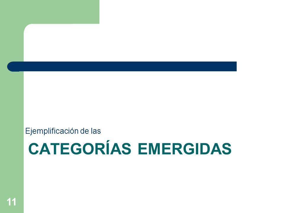 CATEGORÍAS EMERGIDAS Ejemplificación de las 11