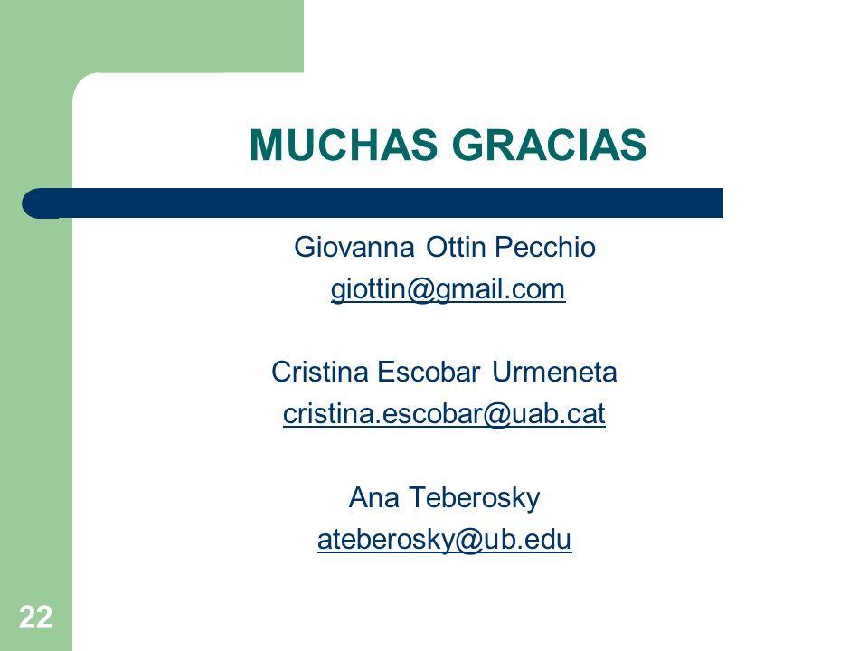 MUCHAS GRACIAS Giovanna Ottin Pecchio giottin@gmail.com Cristina Escobar Urmeneta cristina.escobar@uab.cat Ana Teberosky ateberosky@ub.edu 22