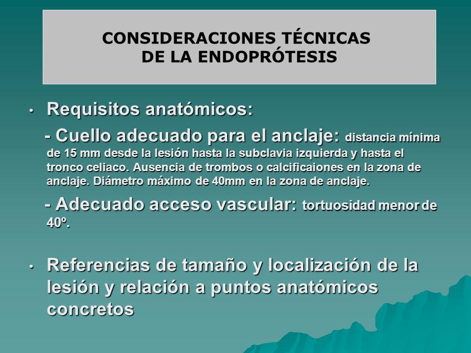 Requisitos anatómicos: Requisitos anatómicos: - Cuello adecuado para el anclaje: distancia mínima de 15 mm desde la lesión hasta la subclavia izquierd