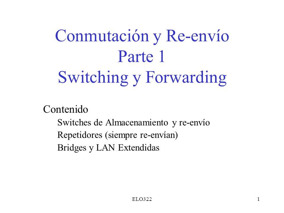 ELO3221 Conmutación y Re-envío Parte 1 Switching y Forwarding Contenido Switches de Almacenamiento y re-envío Repetidores (siempre re-envían) Bridges
